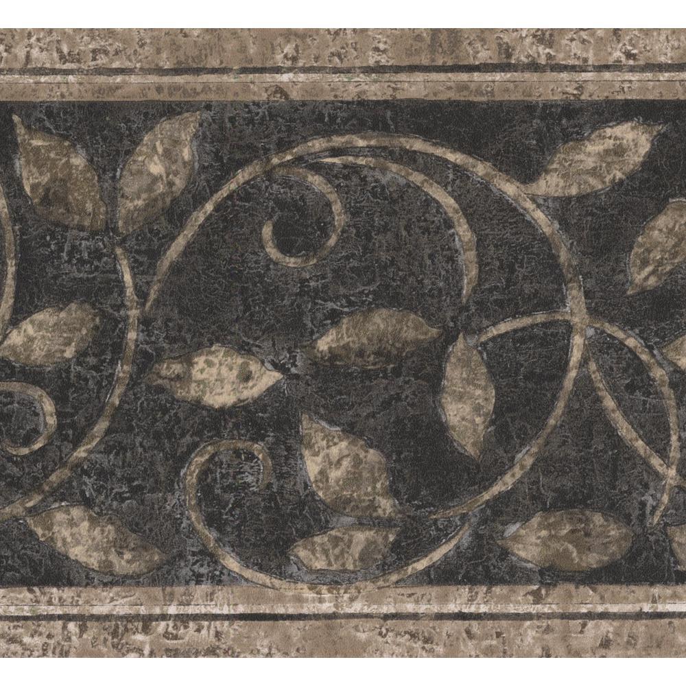 Abstract Damask Beige Vines Black Vintage Prepasted Wallpaper Border