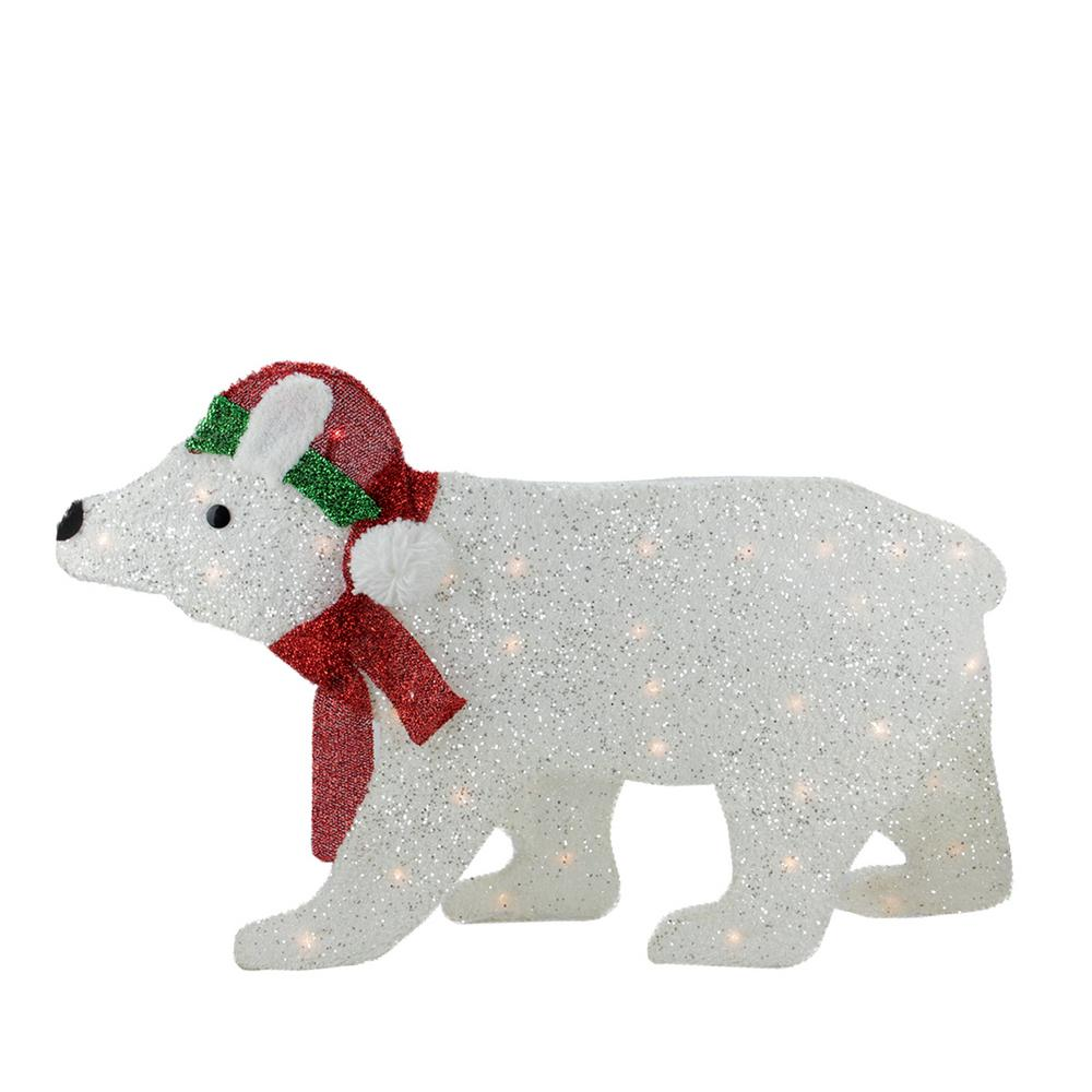 19 in. Lighted White 2-D Glittered Polar Bear Christmas Outdoor Decoration