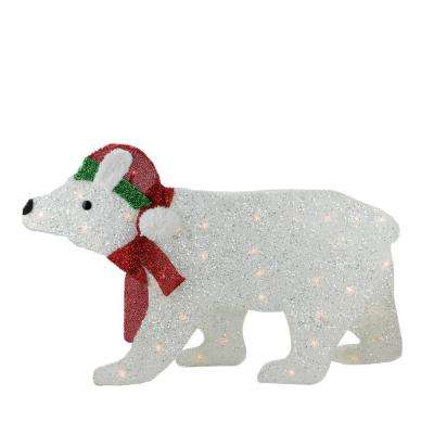 Lighted White 2-D Glittered Polar Bear Christmas Outdoor Decoration