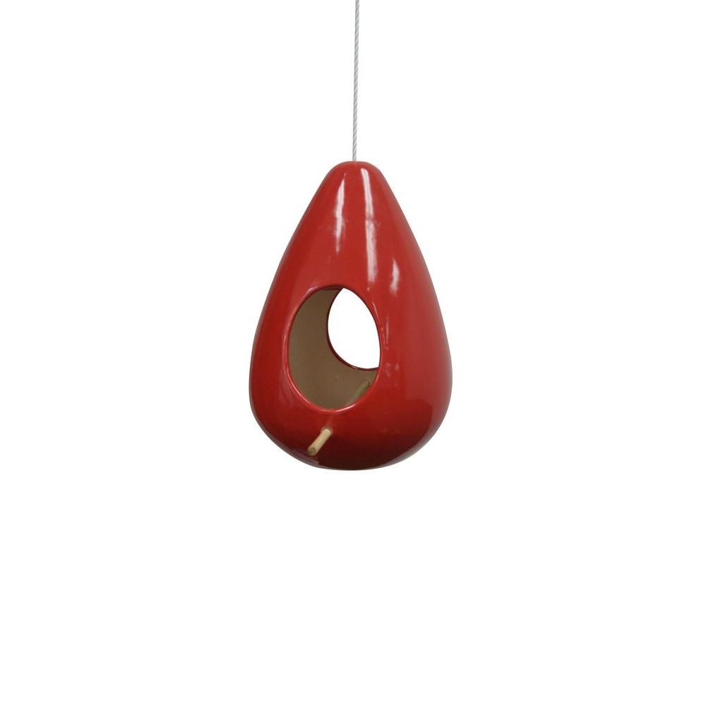 10 in. Hanging Red Teardrop Shape Birdhouse