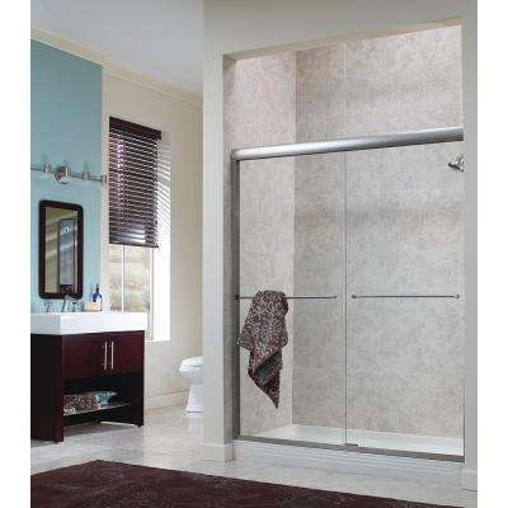 Cove 54 in. - 58 in. x 70 in. H Frameless Sliding Shower Door in Silver with 1/4 in. Rain Glass