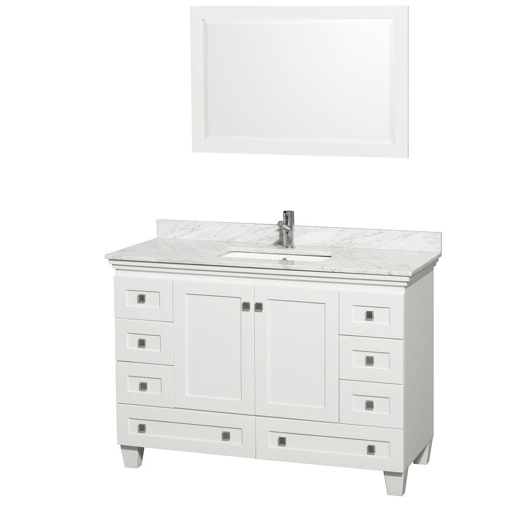 48 vanity with sink. Wyndham Collection Acclaim 48 In  Vanity White With Marble Top Carrara