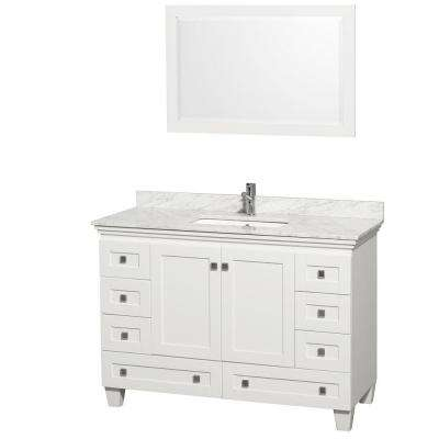 Acclaim 48 in. Vanity in White with Marble Vanity Top in Carrara White, Square Sink and Mirror