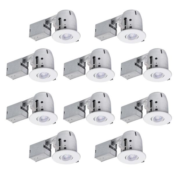 4 in. White Dimmable Recessed New Construction and Remodel Lighting Kit (10-Pack)