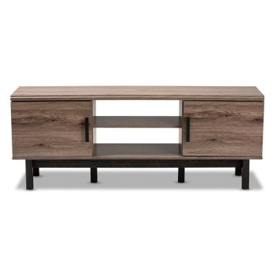 Arend Oak and Black TV Stand