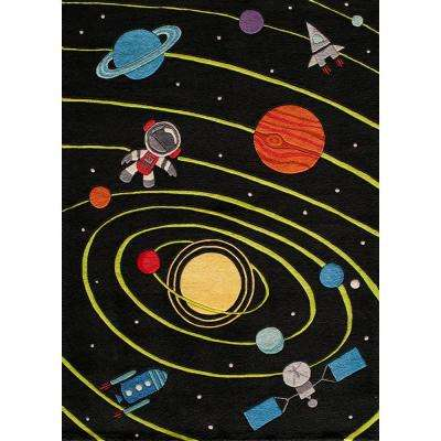 Lil Mo Whimsy Solar Black 3 ft. x 5 ft. Indoor Kids Area Rug