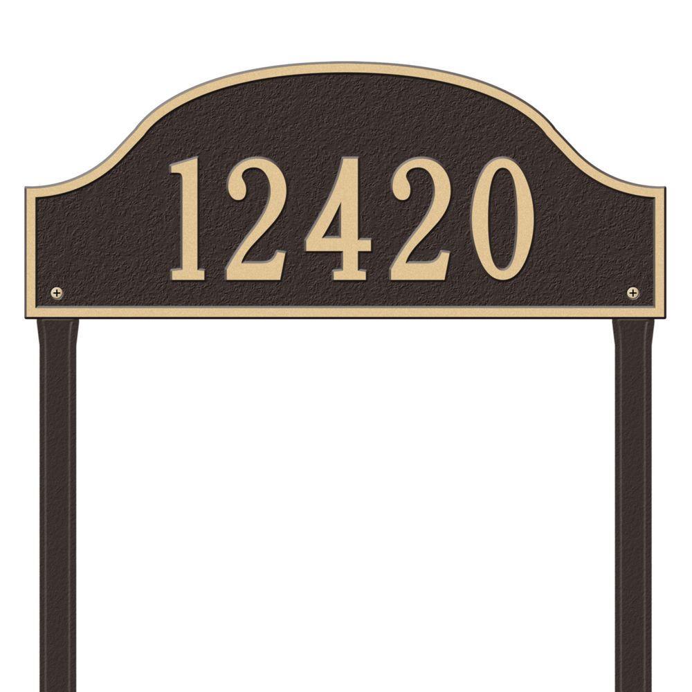 Admiral Estate Arch Bronze/Gold Lawn One Line Address Plaque