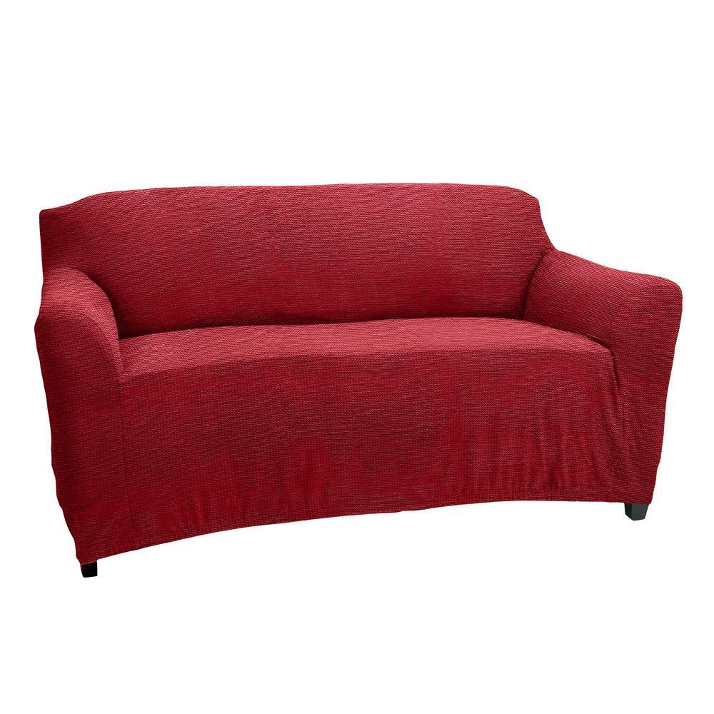 96.5 in. x 47.2 in. x 27.5 in. Zig Zag Burgundy Stretch Love Seat Slip Cover