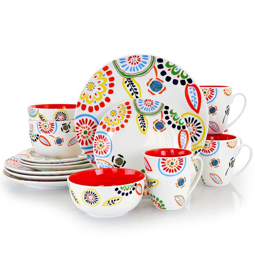 Colorful Bazaar 16-Piece Casual Red Orange Ceramic Dinnerware Set (Service for 4)