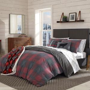 2 Piece Red Cattle River Plaid Twin Duvet Cover Set