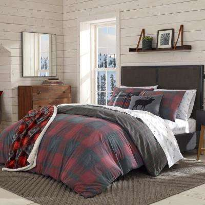 3-Piece Red Cattle River Plaid King Duvet Cover Set