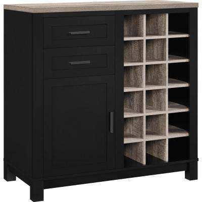 Viola 18 Bottle Black Bar Cabinet