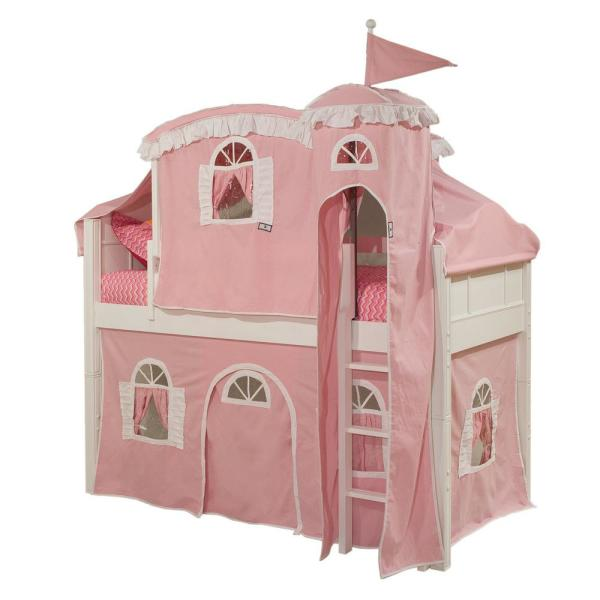 Emma White Twin Low Loft Bed with Pink and White Tower,