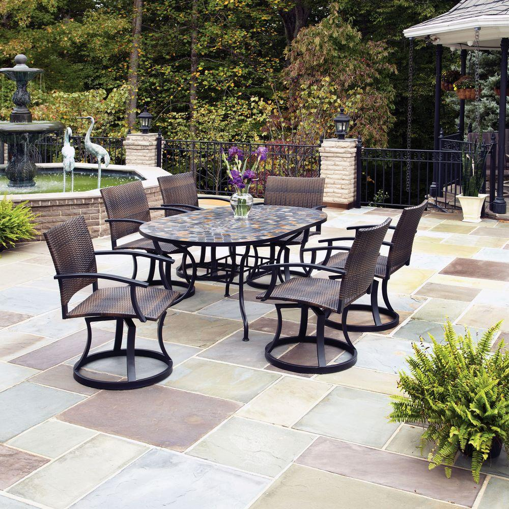 Home Styles Stone Harbor 7-Piece Patio Dining Set with Newport Swivel Chairs