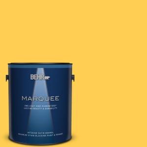 Behr Marquee 1 Gal T16 09 Citronne Interior Satin Enamel Paint And Primer In One 745301 The Home Depot
