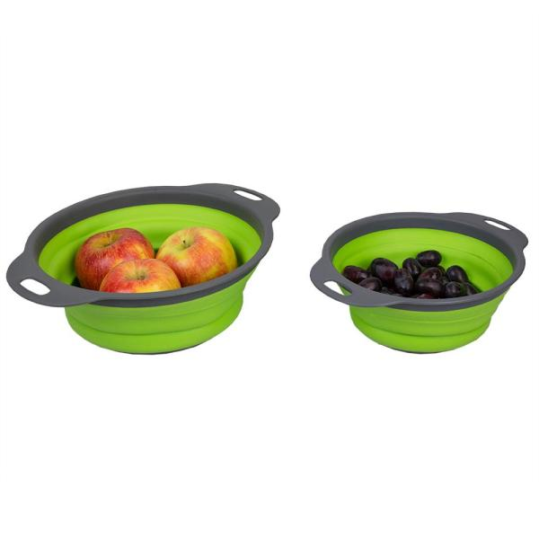 Home Basics Nesting Collapsible Silicone Colander (Set of 2)