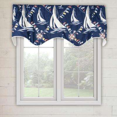 Nautical Sail 16 in. L Cotton Lined Scallop Valance in Navy
