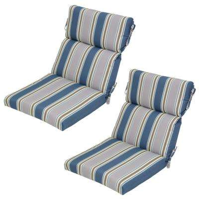 Charleston Stripe Outdoor Dining Chair Cushion (2 Pack)