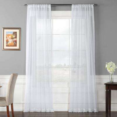 Solid Voile Poly Sheer Curtain in White - 50 in. W x 108 in. L (2-Panel)