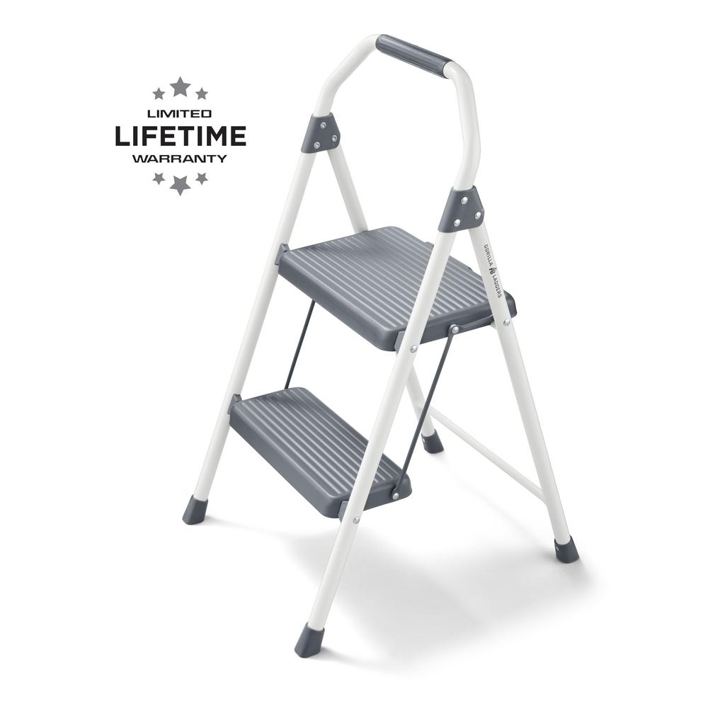 Gorilla Ladders 2-Step Compact Steel Step Stool, 225 lbs. Load Capacity Type II Duty Rating