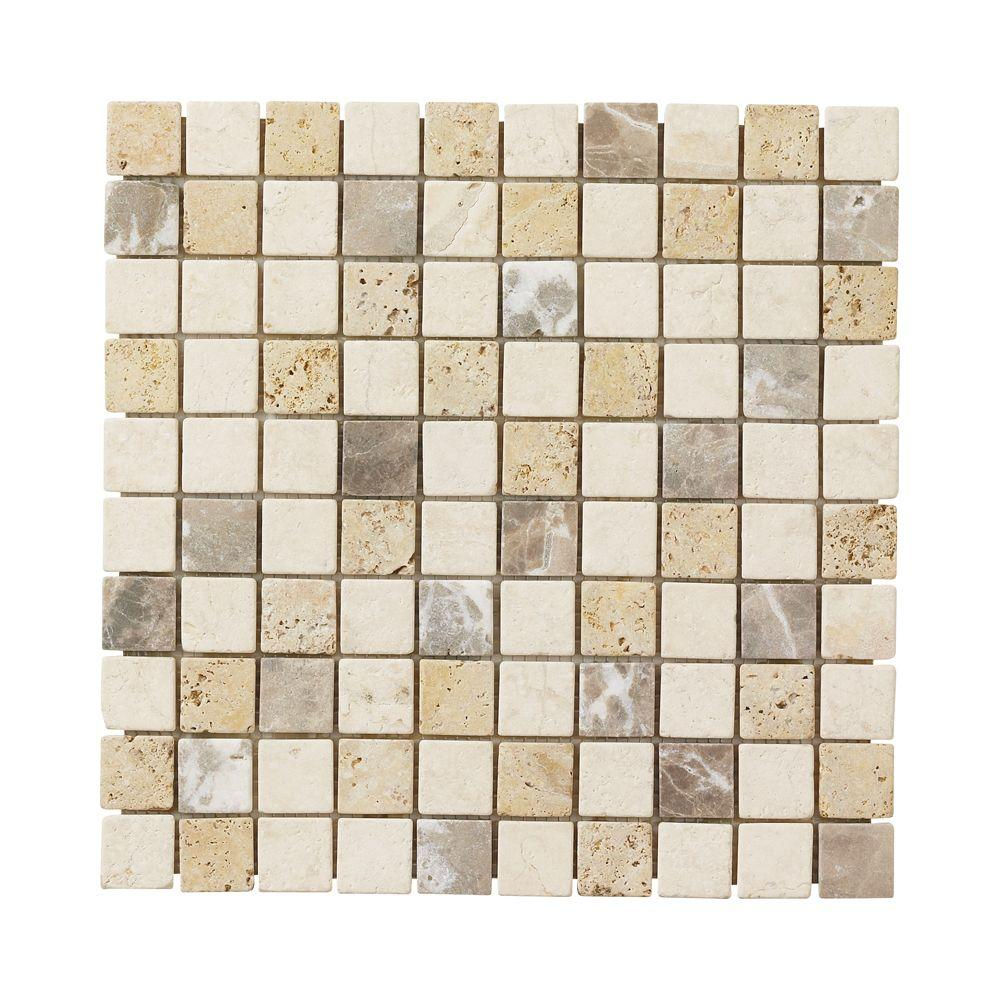 Jeffrey Court Giallo Sienna Medley 12 in. x 12 in. x 8 mm Travertine Marble Mosaic Floor/Wall Tile