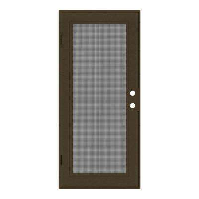 32 in. x 80 in. Full View Royal Brown Left-Hand Surface Mount Security Door with Meshtec Screen
