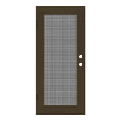 36 in. x 80 in. Full View Royal Brown Left-Hand Surface Mount Security Door with Meshtec Screen