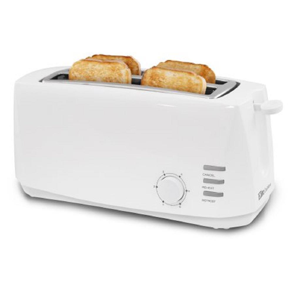 Elite Cuisine 4 Slice White Long Slot Cool Touch Toaster