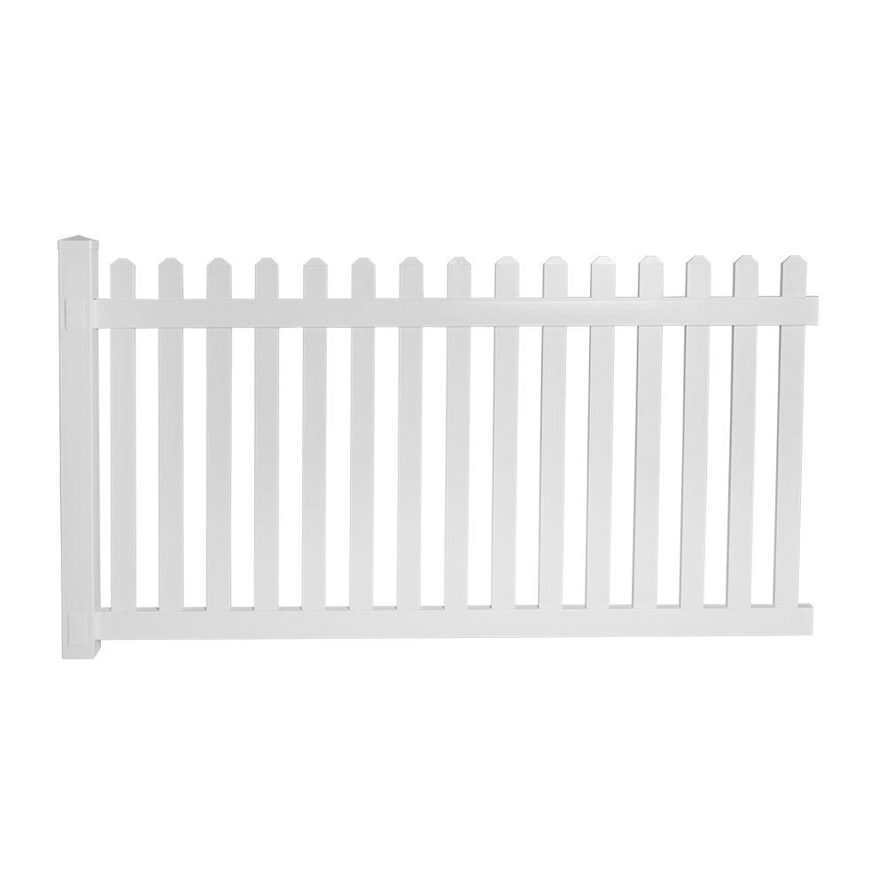 Weatherables Cheyenne 4 ft. H x 8 ft. W White Vinyl Fence Picket EZ Pack
