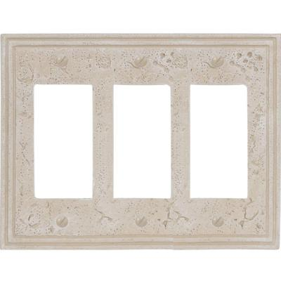 Faux Stone 3 Gang Rocker Resin Wall Plate - Almond
