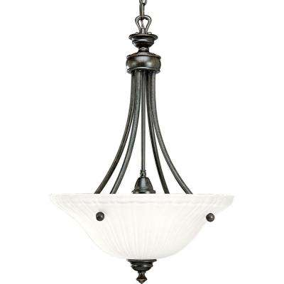 Renovations Collection 3-Light Forged Bronze Foyer Pendant with Etched Glass