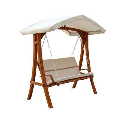 Wooden Patio Swing Seater with Canopy