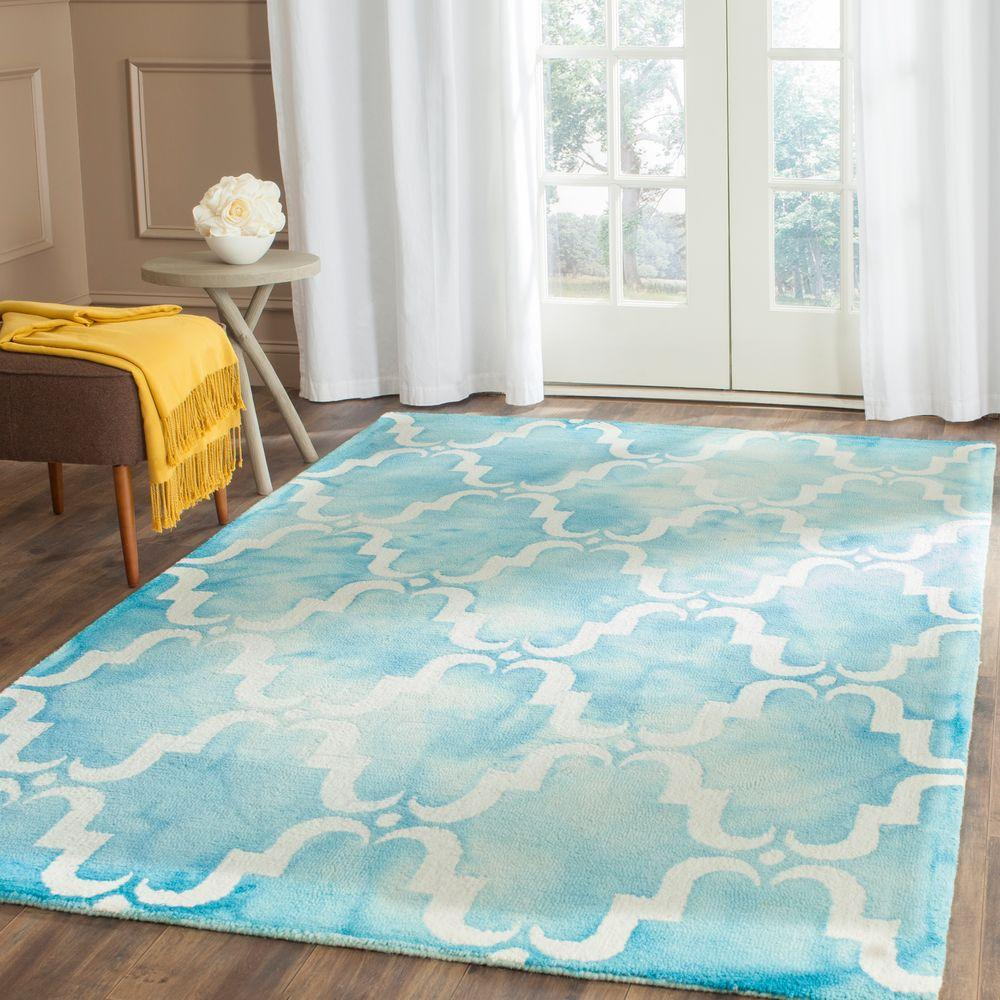 Safavieh Dip Dye Turquoise Ivory 6 Ft X 9 Ft Area Rug Ddy536d 6