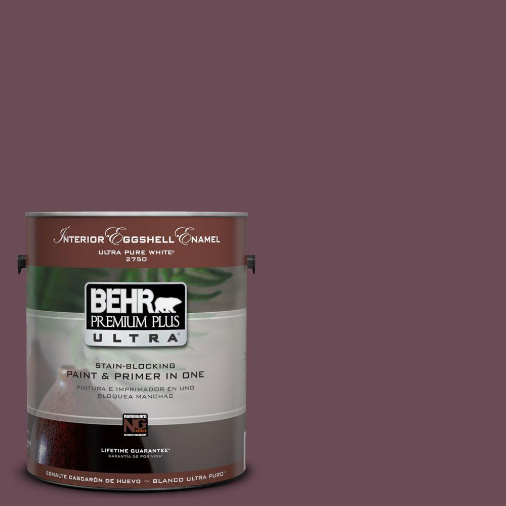 BEHR Premium Plus Ultra 1-Gal. #UL100-22 Spiced Plum Interior Eggshell Enamel Paint-DISCONTINUED