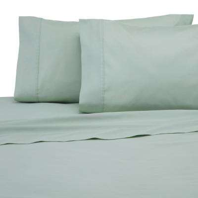 Solid Color T300 4-Piece Light Sage Cotton Queen Sheet Set