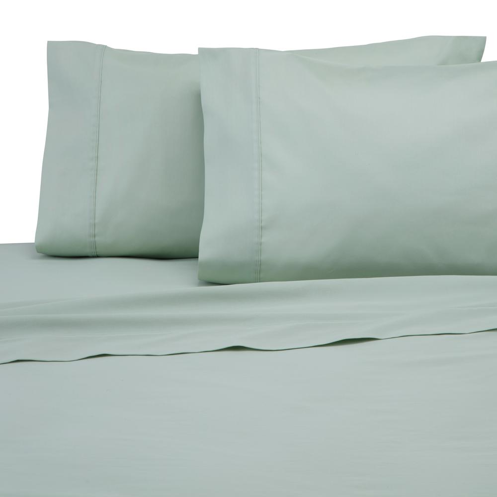 Solid Color T300 Light Sage Cotton King Pillowcase (Set of 2)
