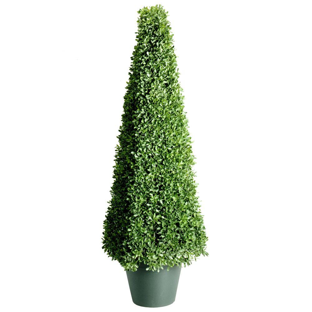 national tree company 48 in. mini boxwood square artificial topiary Artificial Topiary Trees