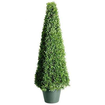 48 in. Mini Boxwood Square Artificial Topiary Tree in 9 in. Round Green Growers Pot