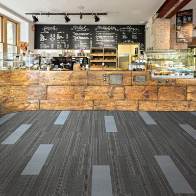 Peel and Stick Sky Grey High Low Planks 9 in. x 36 in. Commercial/Residential Carpet (16-tile / case)