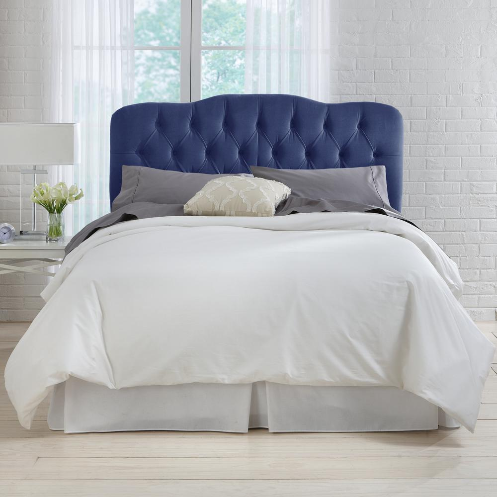 Velvet Navy Queen Tufted Headboard 742qvlvnv The Home Depot