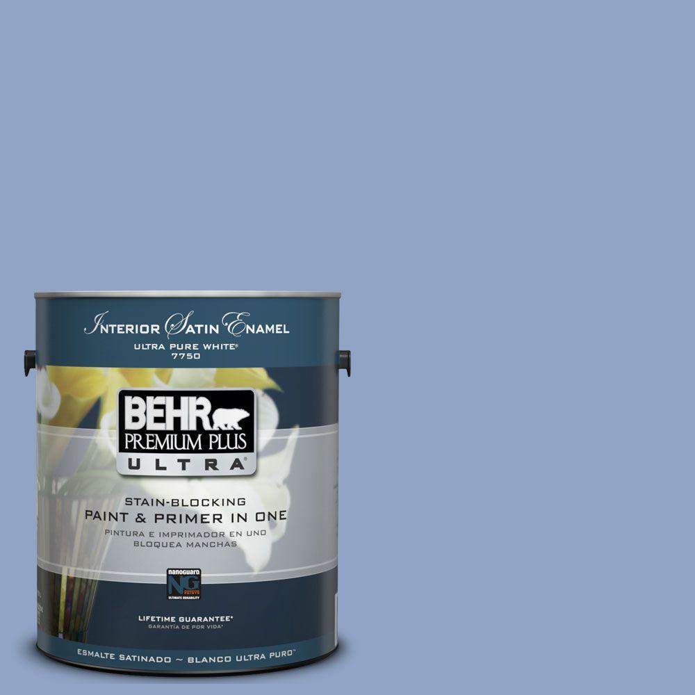 BEHR Premium Plus Ultra 1-Gal. #UL240-16 Blue Hydrangea Interior Satin Enamel Paint