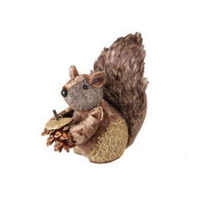 6 in. Country Cabin Decorative Faux Fur Trim Squirrel with Pine Cone Christmas Tabletop Figurene