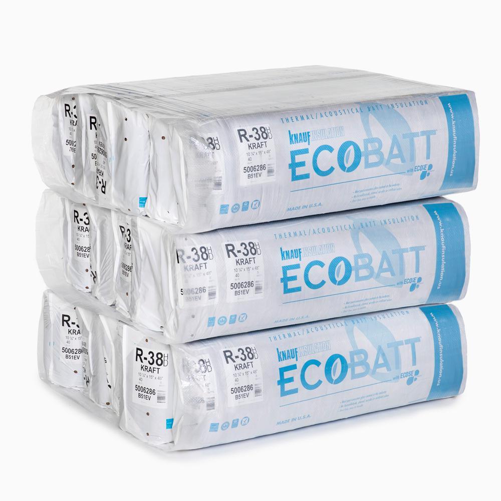R-38 EcoBatt Kraft-Faced High Density Fiberglass Insulation Batt 10-1/4 in. x 15 in. x 48 in. (15-Bags)