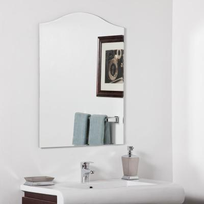 24 in. W x 32 in. H Frameless Arched Beveled Edge Bathroom Vanity Mirror in Silver
