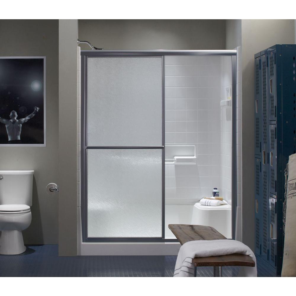 Deluxe 59-3/8 in. x 69-15/16 in. Framed Sliding Shower Door in Silver with Handle
