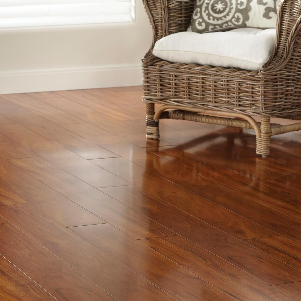 TrafficMaster High Gloss Jatoba 5 mm Thick x 5-5/5 in. Wide x 5-5/5 in.  Length Laminate Flooring (15.5 sq. ft. / case)