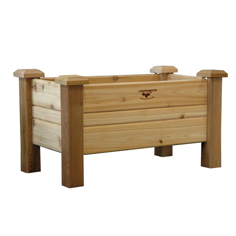 Gronomics 34 in. x 18 in. Unfinished Cedar Planter Box-PB 18-34 ...