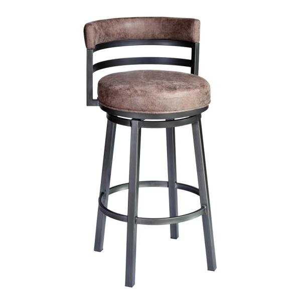 Armen Living Titana 26 in. Bar Stool in Mineral finish with Bandero Tobacco upholstery