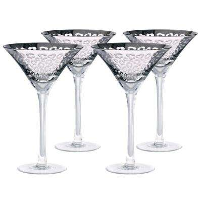 8 oz. Leopard Design Silver Martini Glasses (Set of 4)