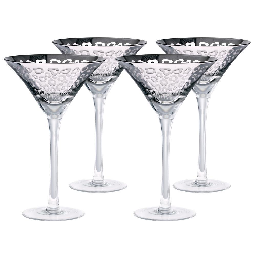 8 oz. Leopard Design Silver Martini Glasses (Set of 4)